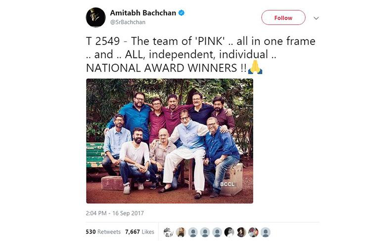 One year after Pink Amitabh Bachchan celebrates film anniversary with pic that has no women