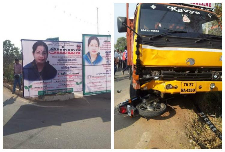 Villagers in Coimbatore angry as AIADMK banners allegedly cause road accident
