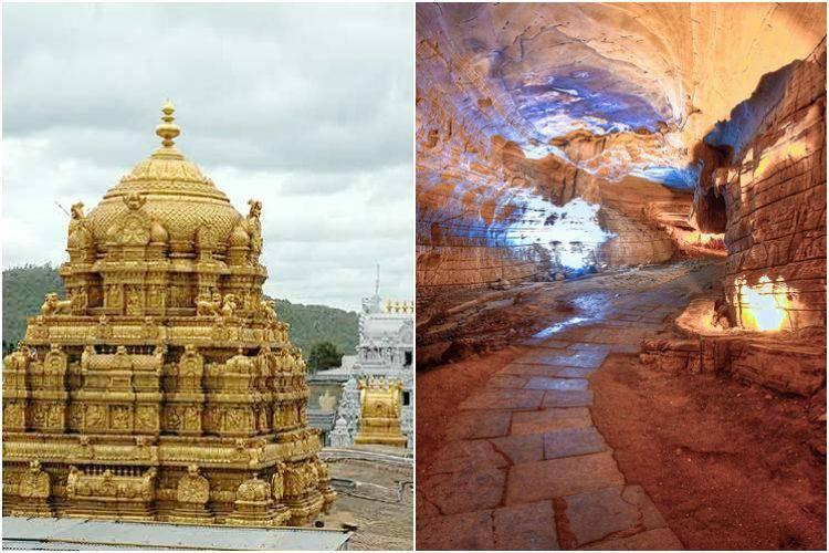 A temple and a tourist spot were seen in a common collage