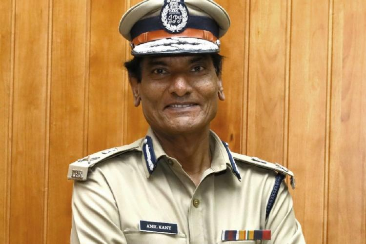 Newly appointed DGP of Kerala Anil Kanth, in uniform, smiling