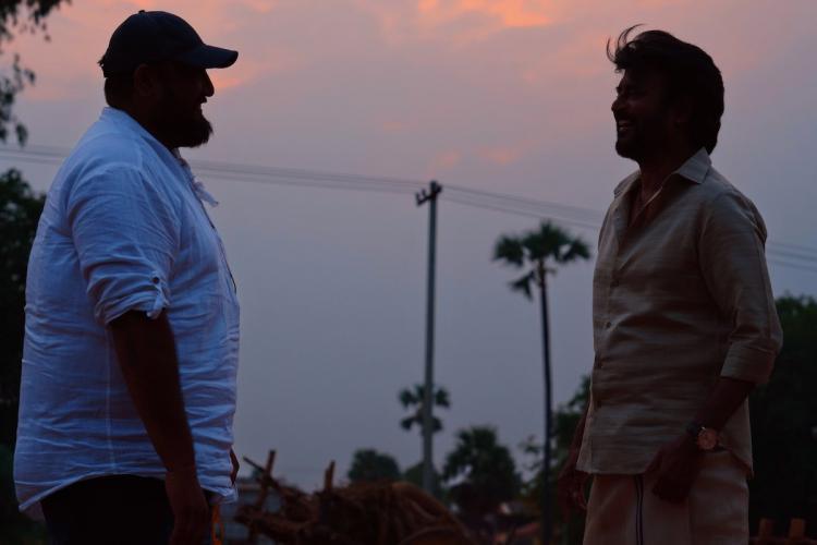 Rajini and Siva on the sets of Annaatthe