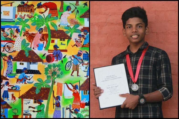 Kerala boys painting on mothers wins international award days after his moms death