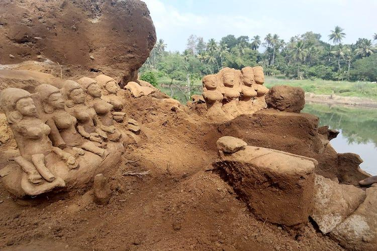 Terracotta tales Ancient idols wash up at Pamba river basin in Kerala post floods