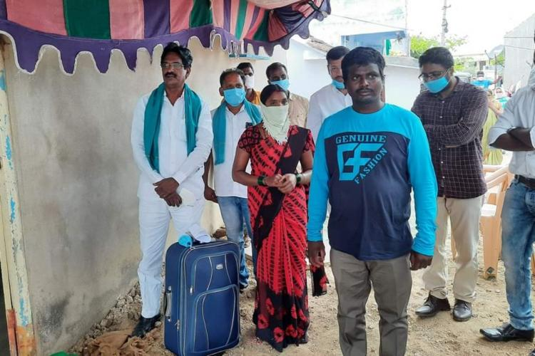 Migrant labour Ankamolla Ravi arrived to his native place in Nizamabad