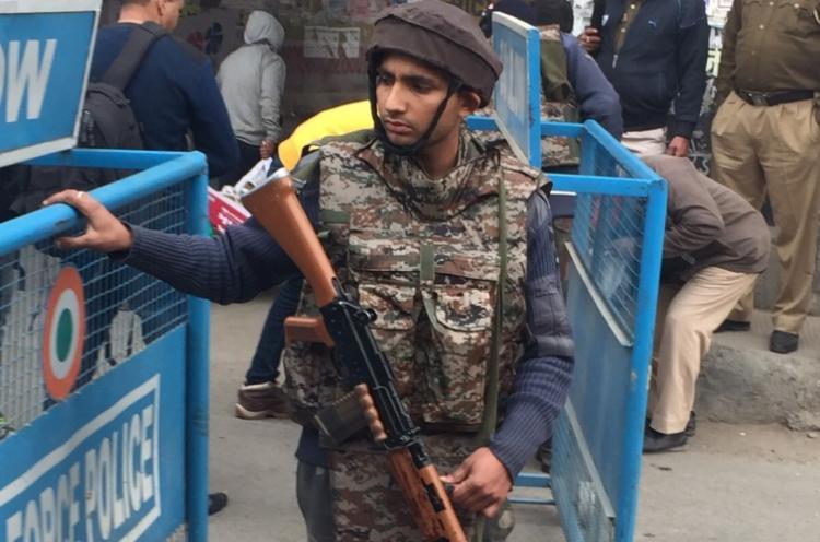Trooper two militants killed in Srinagar attack
