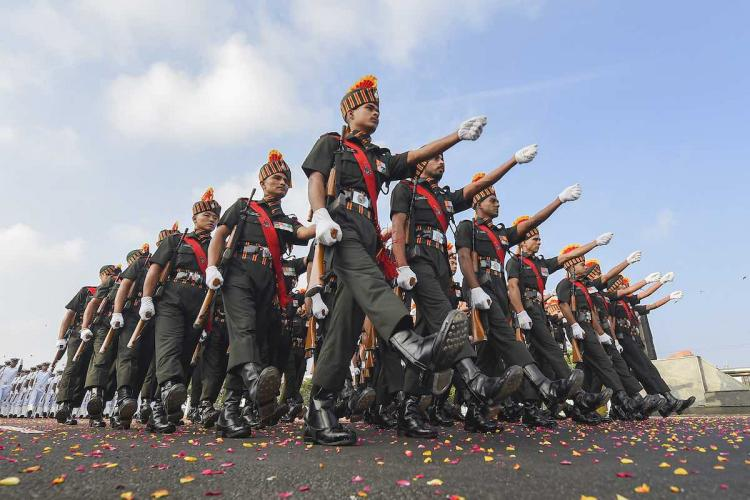 A contingent of Indian Army cadets marches during the full dress rehearsal for the Republic Day parade