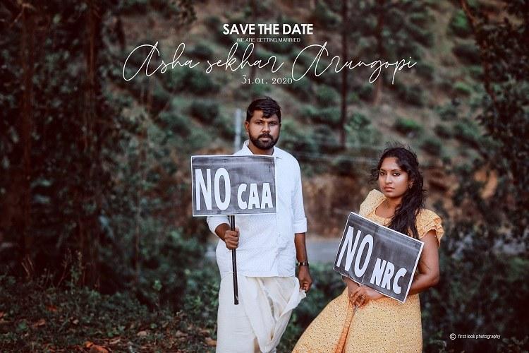 Kerala couple protests CAA and NRC through pre-wedding photo shoot