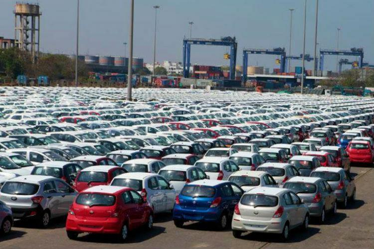 Cars lined up for export