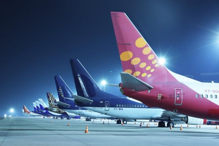 Airlines parked on tarmac