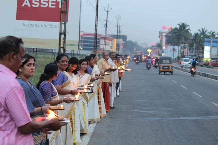 To counter Womens Wall Ayyappa Jyothi volunteers line up with lamps across Kerala