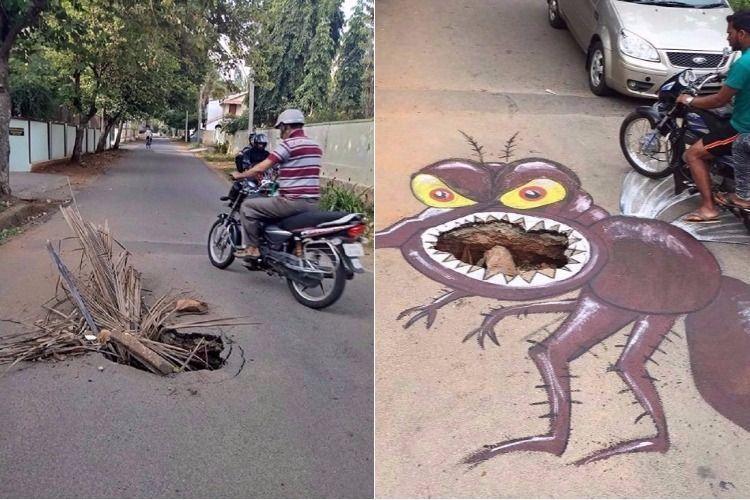 Bengaluru-based artist turns pothole in Mysuru road into menacing dengue mosquito