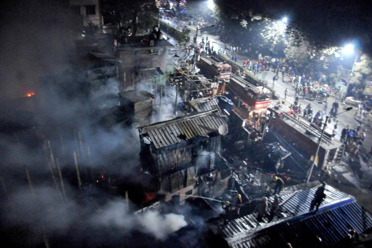 Burnt shanties in Bagbazaar after massive fire
