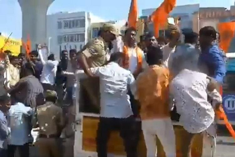 60 Bajrang Dal members held in Hyd for holding rally on Valentines Day