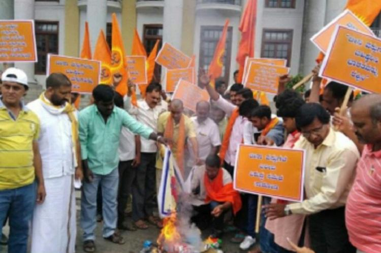 It is every Indians duty VHP and Bajrang Dal activists burn Chinese goods in Bengaluru