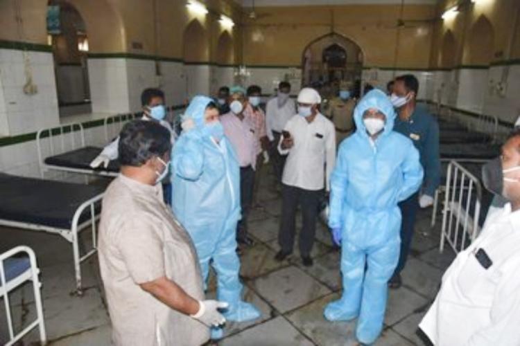 BJP Telangana unit President Bandi Sanjay Kumar and other leaders visited OGH on Thursday