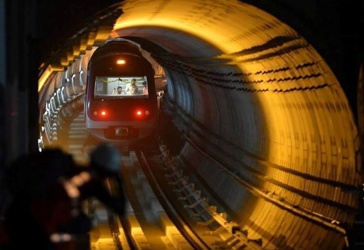 Bangalore Namma Metro moving through a tunnel