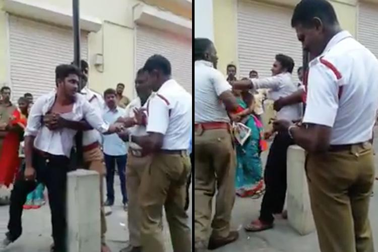 Chennai cops high-handedness caught on cam Woman son assaulted for riding triples