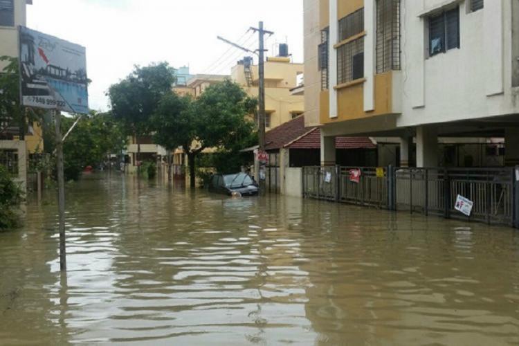 A Bengaluru locality inundated after rain