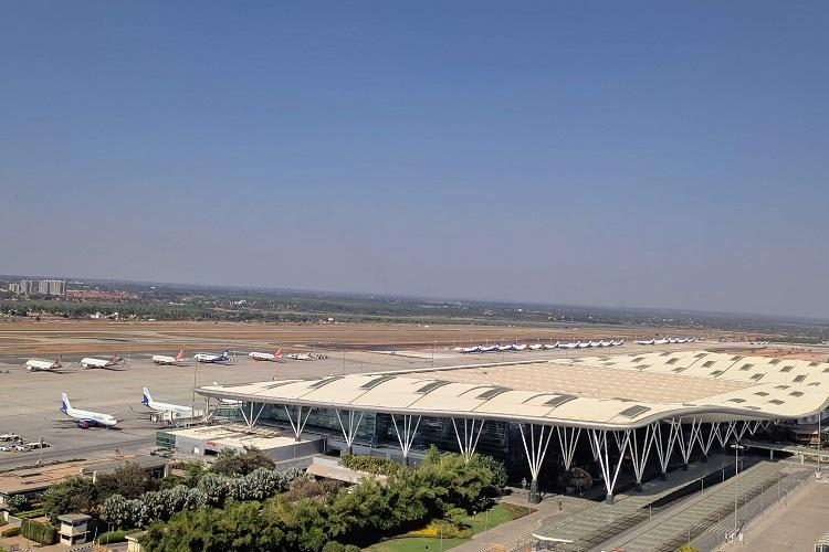 Bengaluru airport an aerial view with grounded flights seen in the image