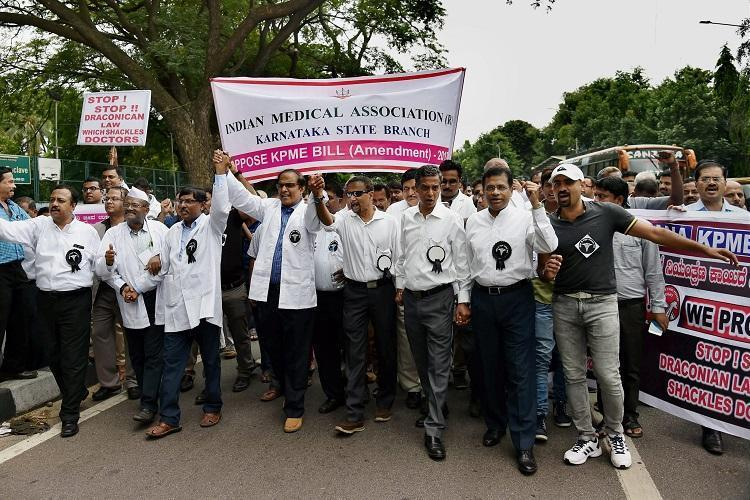 As doctors protests continue KPME Bill turns into a political slugfest in Karnataka