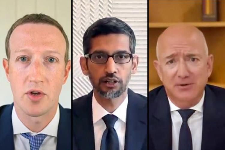 Mark Zuckerberg Sundar Pichai and Jeff Bezos speaking at the US Congress antitrust hearing virtually