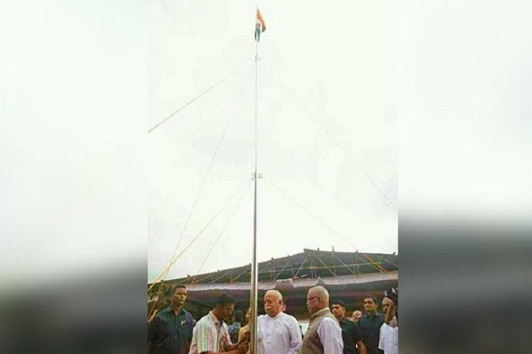Mohan Bhagwat hoists national flag at Kerala school flouts govt order