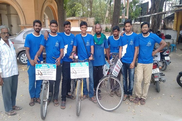 He is cycling 6000kms for the environment no hotels MNC products or bottled water