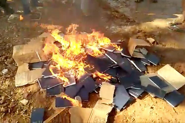 Video Unidentified miscreants burn Bible copies in Telangana police on the lookout