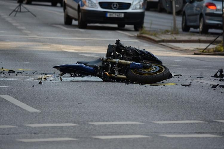 A bike lying on the road after an accident