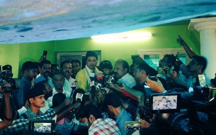 Tripura CM Biplab Deb campaigns for BJP in Kerala meets Sreejiths family