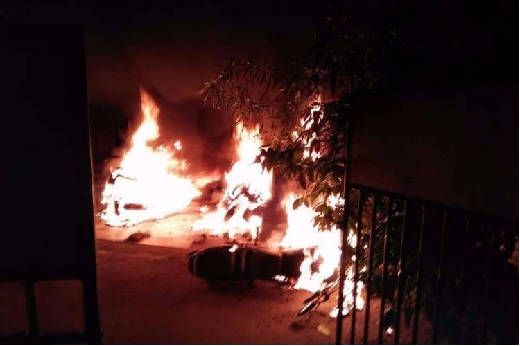 Kerala BJP Panchayat Presidents house set on fire three bikes gutted