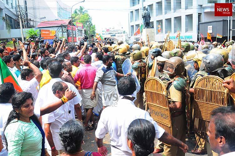 BJP-Yuva Morcha protest turns violent hartal in Thiruvananthapuram on Tuesday