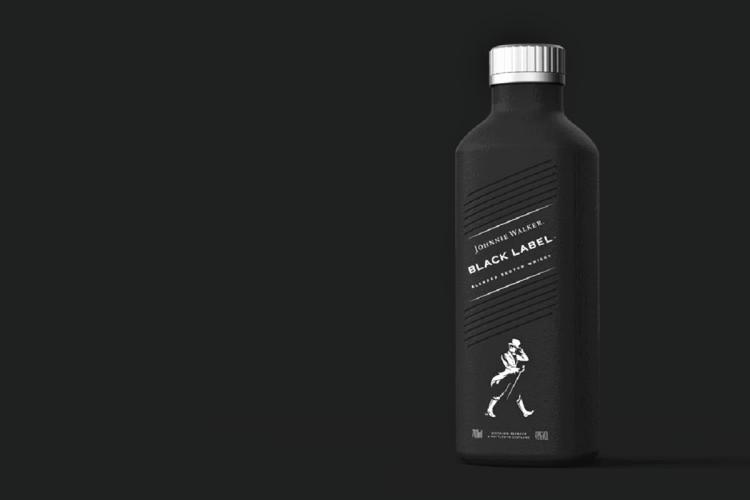 The proposed bottle by Johnnie Walker in the foreground placed in front of a black background