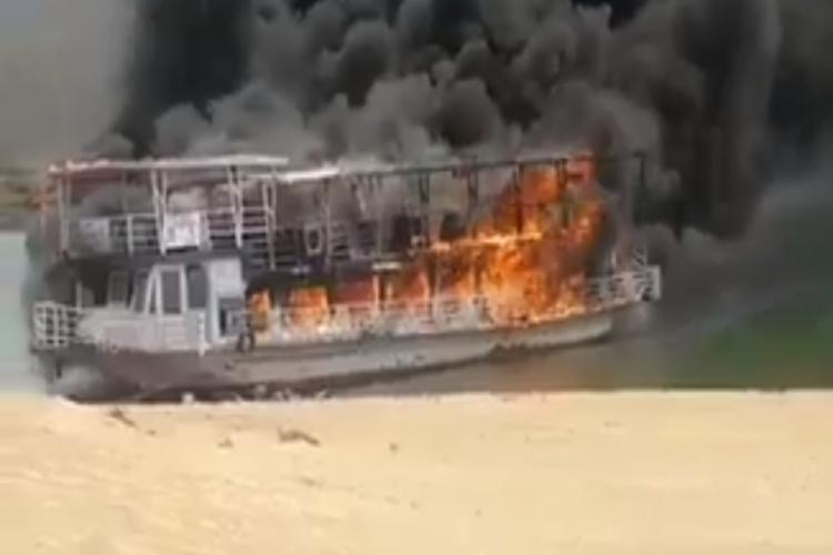 Narrow escape for 80 tourists as boat catches fire in Andhra Pradesh