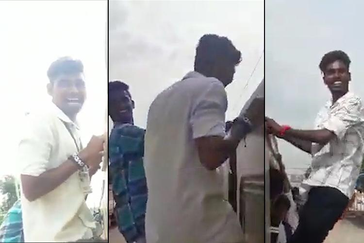 Chennai students seen hanging out of moving train in video cops launch search