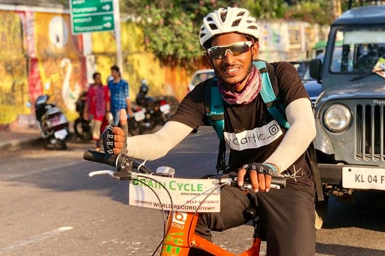 Try to swerve left it turns right Kerala students use fun bicycle to promote cycling