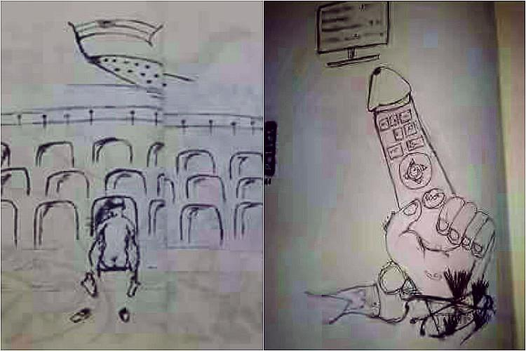 Provocative cartoons in college magazine 13 persons booked for insulting National Flag