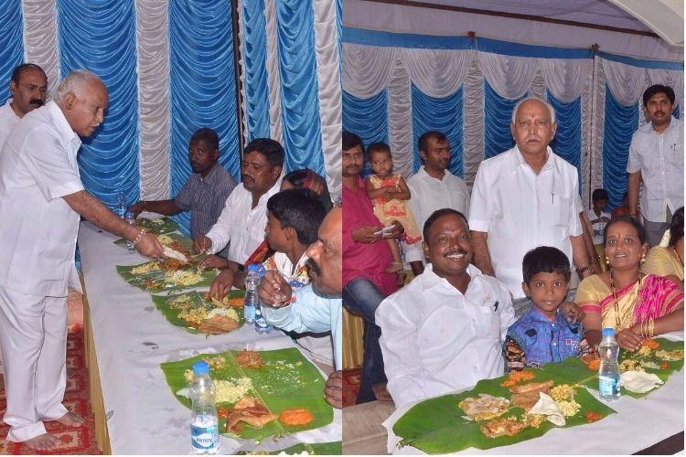 Yeddyurappa hosts Dalit families at his residence for lunch gifts them silk sarees dhotis
