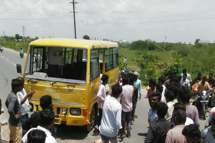 3 students killed in Telangana accident Van ferrying children had no fitness certificate