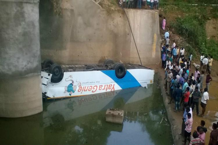At least 8 dead as bus falls into canal in Telangana