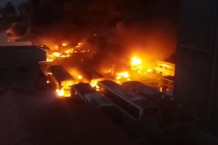 Cauvery crisis 45 KPN travels buses set on fire in Bengaluru