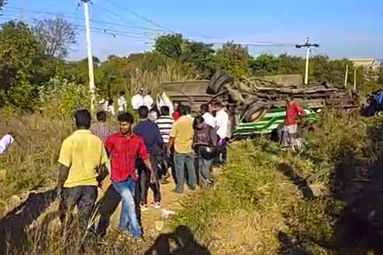 6 killed 15 injured after car crashes into a govt bus in Krishnagiri district