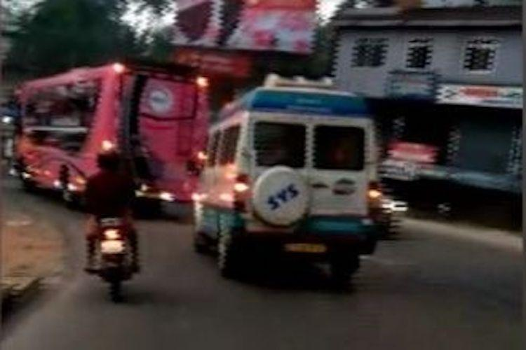 For overtaking their vehicle Kerala ambulance driver assaulted by private bus staff