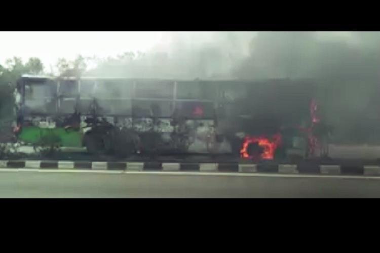 Bus carrying school children catches fire near Bengaluru 50 students escape unhurt