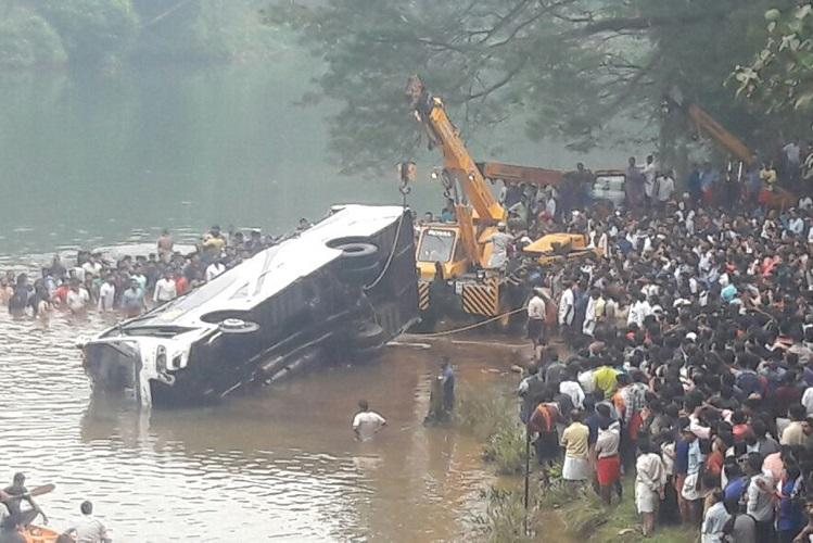 Three killed in Kerala after private bus falls into Mayyazhi river