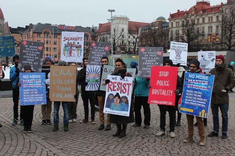 Indians in Finland raise slogans read Preamble at anti-CAA protest in Helsinki