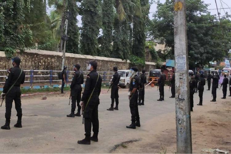 Special force commandos deployed in Poonthura in Thiruvananthapuram Kerala