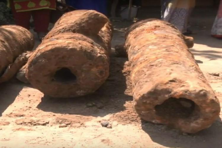 Four canons belonging to British Era found underneath Vizags Queen Mary school