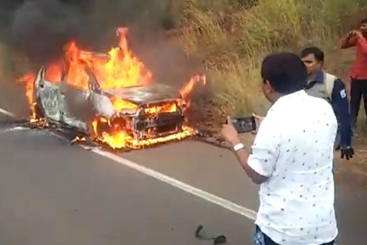 Hyderabad woman dies after moving car catches fire in Karnatakas Bidar