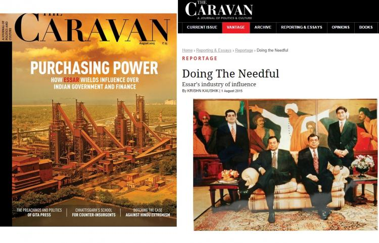 Essar goes after The Caravan with lawsuit for damning article magazine gives it right back